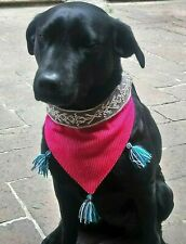Double sided Hand Embroidered Bandana Dog Collar medium size Mexican Handcraft