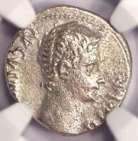 Augustus AR Denarius Coin 27 BC - 14 AD, Lugdunum. Certified NGC Choice Fine