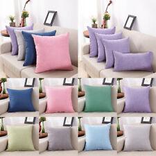 Solid Cotton Linen Pillow Case Sofa Cushion Cover Bed Car Throw Case Home Supply