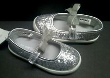 Girls Size 7,11 Sandals Mary Janes CARTER'S Silver Glitter Slip On Hook Loop