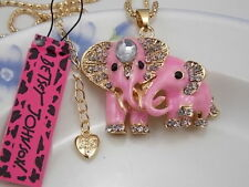 Betsey Johnson Cute fashion inlay Crystal Pink Elephant Pendant Necklace # H