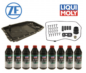 Transmission Service Kit 9L ATF+Oil Pan+Filter+Gaskets+Bolts+Sleeves OEM for BMW