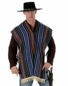 MEXICAN BANDITO ADULT MENS WESTERN COWBOYS COSTUME PONCHO SERAPE BLANET SHAWL