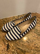Womens J.Crew Cleo Fabric Blue White Loafer size 9.5 A1839