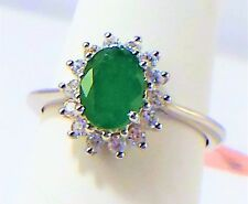 1.72 cts Oval Emerald Ring / White Zircon Halo in 925 Sterling Silver -  size 7