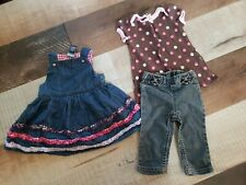Baby girls clothes 9 months summer dress & jeans outfit lot of 3 pieces