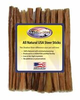 "10 Count 6"" ULTRA-THIN Shadow River USA STEER Bully Sticks Dog Treats Chew"