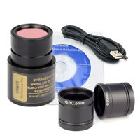 USB Digital Microscope Camera 5MP Electronic Ocular w/ 30mm 30.5mm Adapter Rings