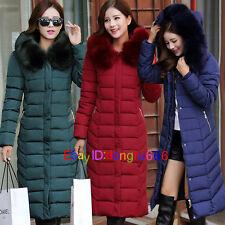 Fashion Womens Winter Hooded Coat Fur Duck Down Parka Jacket Long Lady Outerwear