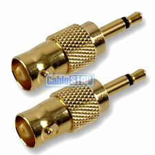 2 x GOLD BNC SOCKET TO 3.5mm MONO JACK CCTV VIDEO CAMERA CABLE AUDIO ADAPTER