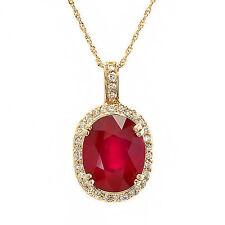 9.3 ct natural ruby & diamond pendant & chain 14k gold