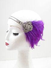 Lila Silber Feder Kopfteil 1920er Jahre Stirnband Flapper Große Gatsby Vintage