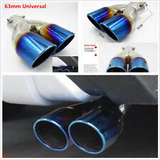 New Dual Exhaust Pipe Tail Muffler Tip Neo Chrome Stainless Steel Car Rear