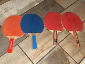 LOT OF 4 VINTAGE PING PONG PADDLES! TACTIC! SPORTCRAFT!