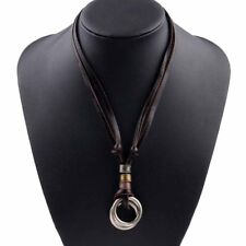 Men's Women's Alloy Leather Pendant Necklace Double Ring Cord Adjustable Gift US