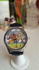 Scooby Doo Mystery Machine Cast Black Genuine Leather Band Wrist Watch