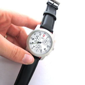 Victorinox Swiss Army Chrono Date Stainless Quartz Watch For Parts Sold As Is