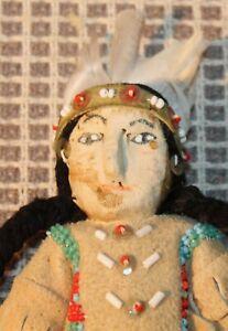 VINTAGE c1950 Native American Doll BLACKFEET Montana BEADED Buckskin