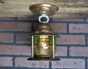 """Vintage Antique Copper Porch Light Ceiling Light Bungalow Restored 9 1/2"""" L"""