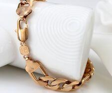 """14ct 14k ROSE """" Gold Filled """" HEAVY Men 13mm Curb Link Bracelet 9.5"""" B333 Xmas"""