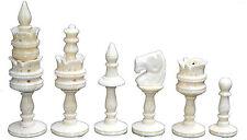 "Chess Set BONE SET, CLASSICALLY CARVED CAMEL BONE SET KING 4"" 32 CHESS PIECES"