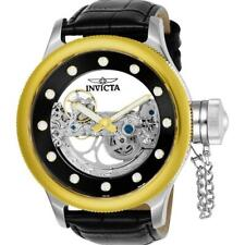 Invicta Russian Diver Ghost Automatic Gold Tone Black Leather Watch