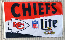 Miller Lite Beer Kansas City Chiefs Flag Banner Man Cave 3x5Feet
