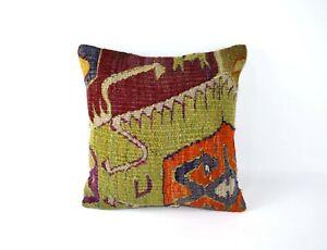 16x16 Kilim Pillow Cover Handmade Decorative Wool Vintage Cushion Cover 4182