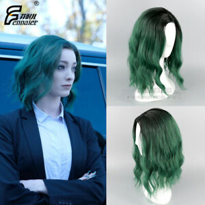 Women Wig Miss Polaris Black Gradient Dark Green Short Hair Cosplay Wig