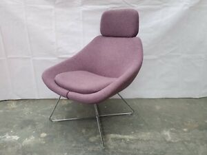 Allermuir A643 Purple Tweed Lounge Chair with Headrest on a Wire Frame