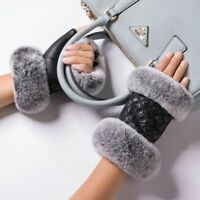 Women Winter Fingerless Gloves Leather Rabbit Fur Wrist Warm Half Finger Mittens