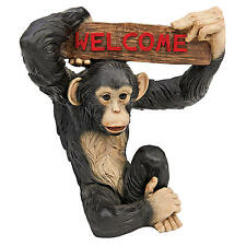 Let's Monkey Around Swinging Chimpanzee Welcome Home Garden Sign Sculpture