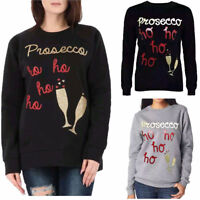 Ladies Christmas Novelty sweatshirts Tops Prosecco Ho Ho Jumper Novelty Blouse