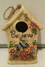 GARDEN ORNAMENT INSPIRATIONS BIRDHOUSE BIRD HOUSE HOTEL NEST NESTING - BELIEVE