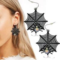 Spider Web Cobweb Crystal Black Dangle Earrings Halloween Goth Punk Rock Biker