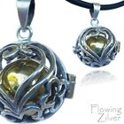 """925 SOLID Sterling Silver Bell Chime Harmony Ball Pendant New """"Balinese Heart"""""""