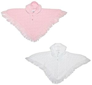 Baby Girl Poncho Cape Shawl Knitted Hood Pink White