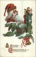 Christmas - Santa Claus Holding Stocking L31F c1910 Postcard