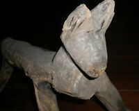 FOLK ART  Outsider   primitive  Animal  Sculpture Carved  Cat wood large