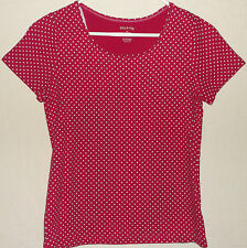 White Stag Blouse Dark Pink White Polka Dots S/S Shirt 100 Cotton Top Size Med
