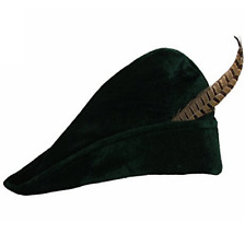 Adult Green Prince Of Thieves Robin Hood Fancy Dress Costume Hat with Feather