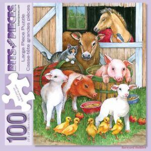 Lorraine Ryan 100 Large Pc Bits and Pieces Jigsaw Puzzle Barnyard Buddies NEW