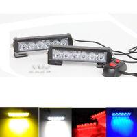 2x 6 LED Car vehicle Strobe Flash Light Emergency Warning Flashing Lamp 12V