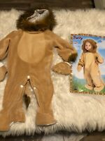 CUDDLY LION  Fuzzy COSTUME w mittens & hood Size 12-24 months