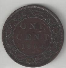 CANADA,  1894,  LARGE CENT,  BRONZE,  KM#7,  VERY FINE-EXTRA FINE
