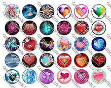 "30 Precut 1"" Hearts Bottle cap Image Set 2"