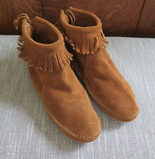 Minnetonka Fringe Ankle Moccasins Back Zip Boots Slippers Suede Brown Size 5.5