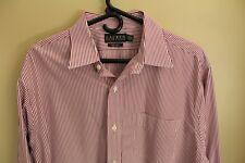 Polo Ralph Lauren Mens Non Iron Shirt Sz 17 34/35 LS Red/White Stripe