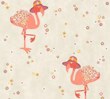 Vlies Tapete Flamingo Hut Blumen grau beige rot lila orange Cozz 36291-2