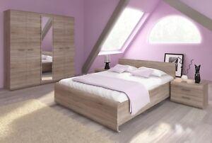 BEDROOM FURNITURE LINK SONOMA OAK BED 160x200 5 DOOR WARDROBE LINEN CUPBOARD